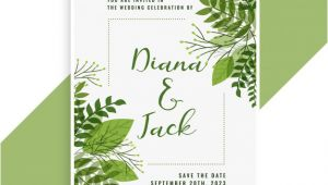 Wedding Invitation Designs Green Wedding Invitation Card Design In Floral Green Leaves