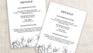 Wedding Invitation Details Card Example Wedding Details Template Information Card Template Wedding