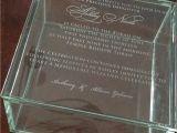 Wedding Invitation Engraved On Glass Custom Engraved Glass Box Invitation Wedding Bar or Bat