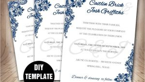 Wedding Invitation Layout Navy Blue Navy Blue Wedding Invitation Template Diy Instant Download