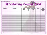 Wedding Invitation List Template Free 16 Wedding Guest List Templates In Pdf Word Excel