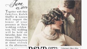 Wedding Invitation Newspaper Template Vintage 1920s Inspired Newspaper Wedding Invitation Suite
