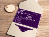 Wedding Invitation Pockets for Cheap Cheap Dark Purple Monogram Fall Pocket Wedding Invitations