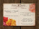 Wedding Invitation Postcards Templates Floral Vintage Postcard Wedding Invitation by Feel Good