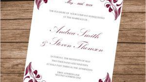 Wedding Invitation Template Burgundy Burgundy Invitation Template Printable Wedding Invite