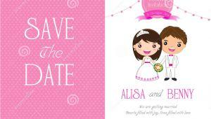 Wedding Invitation Template Cartoon Wedding Invitation Template Card Cartoon Stock Vector