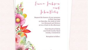 Wedding Invitation Template Free Pdf Free Pdf Download Autumn Blooms Wedding Invitation for