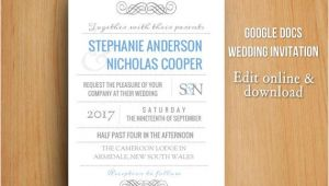 Wedding Invitation Template Google Docs Diy Google Docs Printable Modern Wedding Invitation by