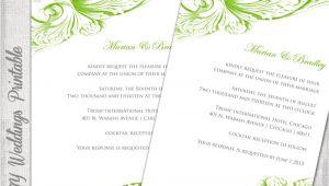 Wedding Invitation Template Green Wedding Invitation Template Green Diy Wedding Invitations