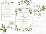 Wedding Invitation Template HTML5 Greenery Wedding Invitation Template Green and Gold Etsy