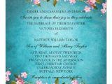 Wedding Invitation Template Japanese Teal Blue Pink Japanese Cherry Blossoms Wedding Invitation