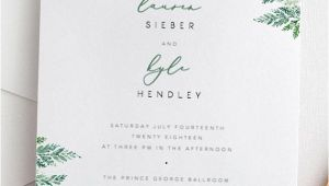 Wedding Invitation Template Leaf Fern Wedding Invitation Template Green Leaf Wedding Invite