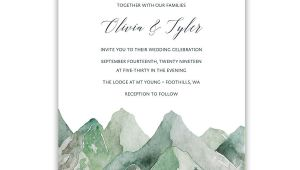 Wedding Invitation Template Mountain Mountain Wedding Invitation Watercolor Mountain Template