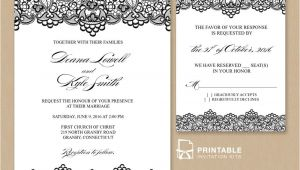 Wedding Invitation Template Pdf Free Pdf Wedding Invitation Template Black Lace Vintage