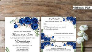Wedding Invitation Template Royal Blue Blue Wedding Invitation Template Royal Blue Wedding Etsy