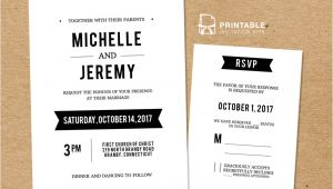 Wedding Invitation Template with Rsvp Diy Free Pdf Printable Wedding Invitation and Rsvp In 2019