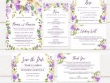 Wedding Invitation Templates Lilac Tvw160 Lilac and Peach Watercolor Floral Wedding