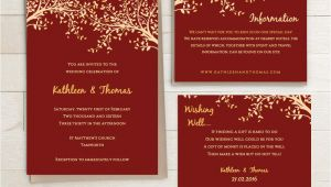 Wedding Invitation Templates Red and Gold Red and Gold Printable Wedding Invitation Set by Connieandjoan
