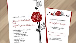Wedding Invitation Templates Red and White Free Pdf Download Red Rose Invitation and Rsvp Easy to