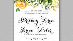 Wedding Invitation Templates Yellow Wedding Invitation Yellow Rose Invitation Templates