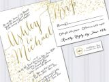 Wedding Invitations On A Budget Ideas Confetti Wedding Invitations Gold Foil Look Invites