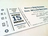 Wedding Invitations that Look Like Tickets Wedding Invitation Designed to Look Like A Ticket to A