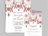 Wedding Invitations to Print at Home for Free Free Pdf Boho theme Dreamcatchers Wedding Invitation and