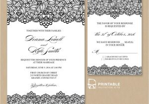 Wedding Invitations to Print at Home for Free Free Pdf Wedding Invitation Template Black Lace Vintage