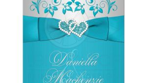 Wedding Invitations Turquoise and Silver Wedding Invitation Turquoise Silver Floral Printed