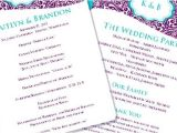 Wedding Invitations Under 50 Cents Each Wedding Program Fan Makayla Turquoise Purple by