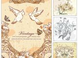 Wedding Invitations with Doves Doves and Flowers Wedding Invitation Card Vector Free