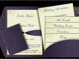 Wedding Invitations with Photo Insert Purple Gold Pocket Fold Email Wedding Invitation Templ On