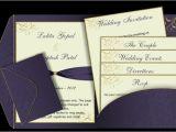 Wedding Invitations with Photo Insert Purple Gold Pocket Fold Email Wedding Invitation Templ On