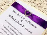 Wedding Invitations with Ribbon and Rhinestones Classic Purple Ribbon Heart Rhinestone Layered Wedding