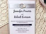 Wedding Invitations with Ribbon and Rhinestones Traditional Silver Ribbon Pearl Rhinestone Buckle Layered