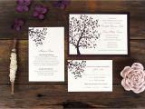Wedding Invitations with Trees Summer Tree Wedding Invitation Breeze Purple Frame Simple