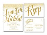 Wedding Reception Invitations with Rsvp Cards Gold Wedding Invitation Gold Sparkles Printable
