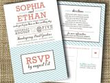 Wedding Reception Invitations with Rsvp Cards Modern Wedding Invitation with Perforated Rsvp Card
