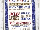 Western Baby Shower Invites Western Boy Baby Shower Invitation Red Blue