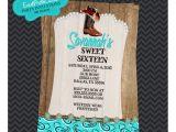 Western Quinceanera Invitations Aqua Rustic Western Cowgirl Quinceanera Invitations
