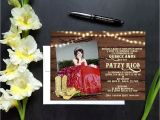 Western Quinceanera Invitations Cowboy Western theme Quinceanera or Sweet Sixteen