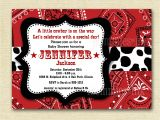 Western theme Baby Shower Invites Baby Shower Invitation Bandana Invitation Bandana by