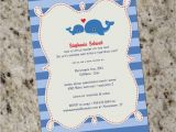 Whale themed Baby Shower Invitations Sweet Whale themed Baby Shower or Birthday Invitation