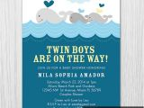 Whale themed Baby Shower Invitations Whale theme Baby Shower Invitation Twin Boys Baby Shower