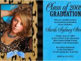 What to Say On High School Graduation Invitations Leopard Turquoise High School Graduation Invitation Senior