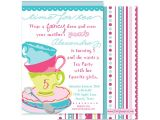 Whimsical Tea Party Invitations Tea Party Whimsical Birthday Invitation Pink and Turquoise