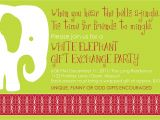White Elephant Gift Exchange Party Invitations White Elephant Christmas Party Invitations Oxsvitation Com
