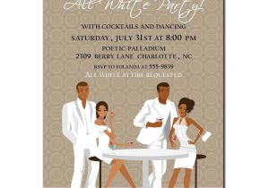 White Party theme Invitations African American All White Party Invitation African American