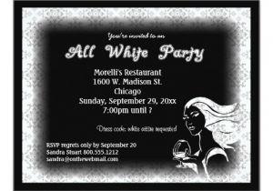 White Party theme Invitations All White attire theme Party Invitation Zazzle