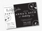 White Party theme Invitations Black and White theme Party Invitations Black and White